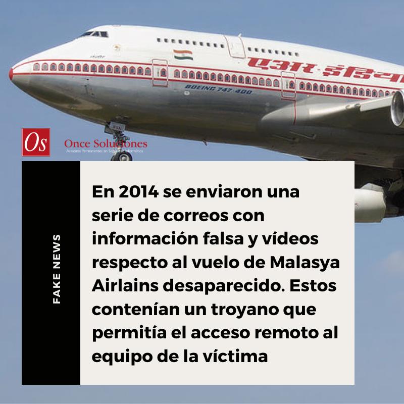 Fake News respecto al vuelo de Malasya Airlines