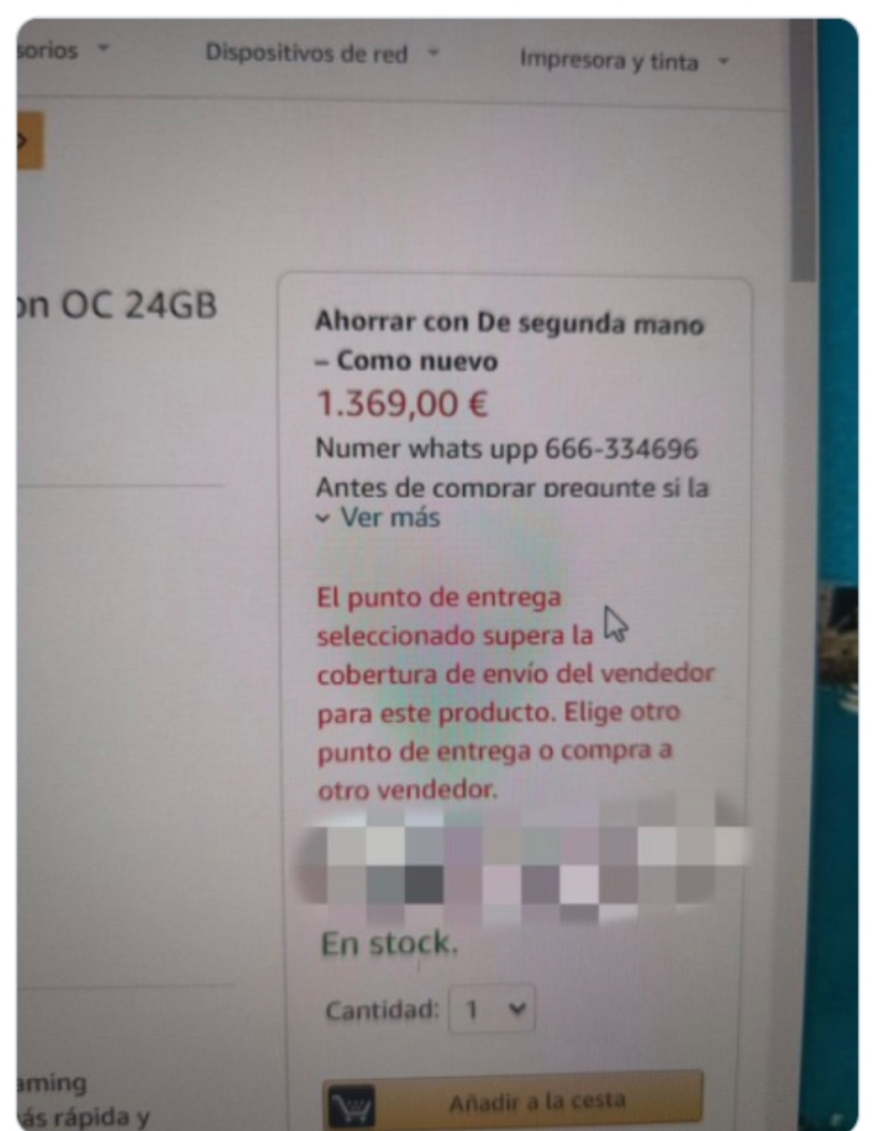 Imagen de una estafa en Amazon dónde el vendedor solicita comunicarse por medio de Whatsapp para continuar con la compra.